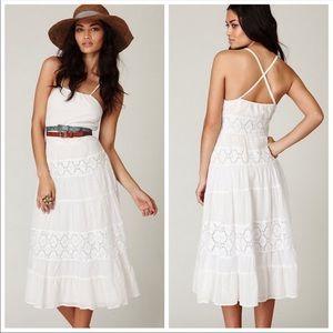 Free People tiered lace halter midi dress